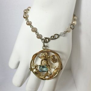 Vintage Cherub March Birthstone Charm Bracelet